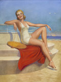 Pin-up and Glamour Art, VICTOR TCHETCHET (American 1891 - 1974). Art Deco Bathing Beautyon Pavilion calendar illustration, c. 1930s. Pastel on ...