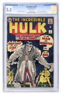 Silver Age (1956-1969):Superhero, The Incredible Hulk #1 (Marvel, 1962) CGC FN- 5.5 Off-white pages....