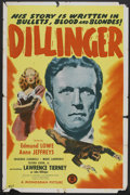 "Movie Posters:Crime, Dillinger (Monogram, 1945). One Sheet (27"" X 41""). Crime.. ..."