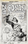 Original Comic Art:Covers, Val Semeiks and Geoff Isherwood Conan the Barbarian #208Cover Original Art (Marvel, 1988)....