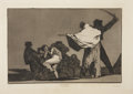 Miscellaneous:Ephemera, Francisco José de Goya. Que Guerrero (Quel guerrier).Etching on cream laid paper. Francois Liénard, Imp. Paris....