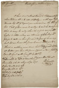 "Autographs:Statesmen, Daniel Carroll Autograph Letter Signed ""D. Carroll"". Onepage, 8"" x 12.5"", Hunting Ridge [Maryland], March 30, 1779. Int..."