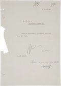 "Autographs:Non-American, Nikita Khrushchev Typed Document Signed and Top Secret MilitaryReport. Letter: One page, 8"" x 11.25"", in Cyrillic, headed ""..."