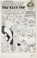"Original Comic Art:Splash Pages, Jack Kirby and Steve Ditko Amazing Spider-Man #8 Splash Page1 ""Spider-Man Tackles the Torch"" Original Art (Marvel..."