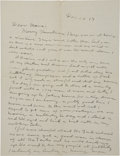 "Autographs:Military Figures, George S. Patton Autograph Letter Signed. One page, two-sided, 8.25"" x 10.75"", n.p. [Langres, France], December 25, 1917. Ea..."