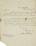 "Autographs:U.S. Presidents, James Buchanan Letter Signed as secretary of state. One page, 7.75""x 10"", ""Washington City, August 20, 1845."" The fifte..."
