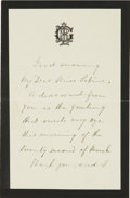 "Autographs:Celebrities, Lucretia Garfield Autograph Letter Signed. Two pages, two sided, onblack-edged mourning paper with her crest at top, 3.75"" ..."
