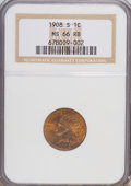 Indian Cents, 1908-S 1C MS66 Red and Brown NGC....