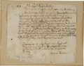 "Autographs:Military Figures, James Blake Autograph Letter Signed. One page, 8.25"" x 7.25"", April 24, 1745, Suffolk, addressed to Capt. Baruch Pond, a let..."