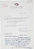 """Autographs:Authors, Robert Frost Autograph Letter Signed. One page, 7.25"""" x 10.25"""", ona typed letter to him from Marjorie Nicholson on Reader..."""