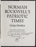 Autographs:U.S. Presidents, Ronald Reagan Signed and Inscribed Book and Signed Typed Forwardfor Norman Rockwell's Patriotic Times, by Georg...