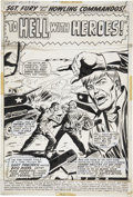 Original Comic Art:Splash Pages, Dick Ayers and Mike Esposito Combat Kelly #4 Nick Fury Splash Page 1 Original Art (Marvel, 1972)....