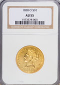 Liberty Eagles, 1858-O $10 AU55 NGC....