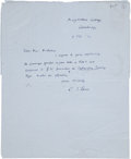 Autographs:Authors, C. S. Lewis Autograph Letter Signed twice- once in manuscript, once in capital letters. One page with address handwritten on...