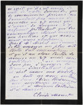 Autographs:Celebrities, Claude Monet Autograph Letter Signed. Two pages, two-sided, writtenin French in purple ink on black-bordered mourning stati...
