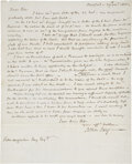 "Autographs:Statesmen, John Jay Autograph Letter Signed. One page, one-sided, 8"" x 10"",""Bedford, Nov. 29, 1815."" John Jay was an American poli..."