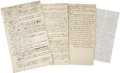 Miscellaneous:Ephemera, Four Quaker Manuscripts. This small collection of Quaker-relateditems includes two one-page, and two two-page manuscripts. ...(Total: 6 Items)