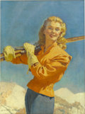 Pin-up and Glamour Art, MCCLELLAND BARCLAY (American 1891- 1943). This Week Magazinecover, January 7, 1940. Oil on canvas. 40 x 30 in.. Signed ...(Total: 2 Items)