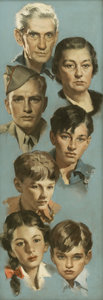 Mainstream Illustration, ANDREW LOOMIS (American 1892 - 1959). A Soldier's Family.Oil on canvas. 42 x 15 in.. Not signed. ...