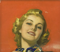 ANDREW LOOMIS (American 1892 - 1959) Portrait of a Blonde Oil on canvas, mounted on board 12 x 14