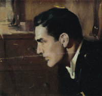 ANDREW LOOMIS (American 1892 - 1959) Small Profile of a Young Man Oil on canvas, mounted on board