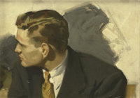 ANDREW LOOMIS (American 1892 - 1959) A Young Man in Profile Oil on canvas, mounted on board 11 x