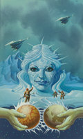 Mainstream Illustration, DON IVAN PUNCHATZ (American b. 1936). Queen of the Ice Planet,book cover. Acrylic on board. 18 x 10.5 in.. Signed lower...