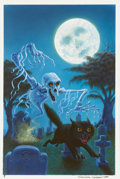 Mainstream Illustration, DON IVAN PUNCHATZ (American b. 1936). Ghostly Tales of Terror,book cover, 1993. Acrylic on board. 14.5 x 9.5 in.. Signe...