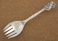 AN AMERICAN SILVER AND ENAMEL SERVING FORK Tiffany & Co., New York, New York, circa 1884 Marks: TIFFANY &amp...