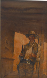 ROBERT CROFUT (American b. 1951) The Spirit of the Border, paperback cover Oil on canvas 28 x 16
