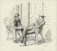 A. B. FROST (American 1851 - 1928) Talking It Over, Harper's Weekly story illustration, November 29, 18