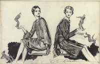 CHARLES DANA GIBSON (American 1867 - 1944) Duplicates Ink and pencil on paper 13 x 20.5 in. Si