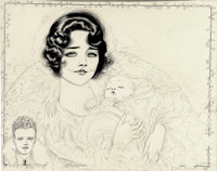 NELL BRINKLEY (American 1886 - 1944) Portrait of Charles, Anne Morrow Lindbergh, and Charles Jr., 1930<