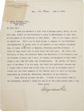 "Autographs:U.S. Presidents, [Theodore Roosevelt] Stuyvesent Fish Typed Letter Signed. One page,8.5"" x 11"", June 3, 1902, New York, to D. LeRoy Dresser ..."