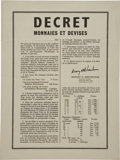 """Miscellaneous:Ephemera, [World War II] Currency Conversion Poster Issued by General DwightEisenhower, 15"""" x 20"""", in French. The 1942 poster, with a..."""