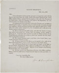 "Autographs:Statesmen, William H. Crawford Printed Treasury Department Circular Signed""Wm H Crawford"" as Secretary of the Treasury. One page, ..."