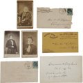 "Autographs:Statesmen, Alexander H. Stephens Archive, including one 6.5"" x 4"" card signed,three cartes de visite of the boyish-looking Confede...(Total: 7 Items)"