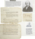 """Autographs:Statesmen, [Georgia Archive] George Walton Signature and Lyman Hall RelatedDocument. The Walton signature is 3.5"""" x 3"""" and excised fro...(Total: 2 Items)"""