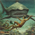 Pulp, Pulp-like, Digests, and Paperback Art, MORT KÜNSTLER (American b. 1931). I Fought the Sea Killer,Adventure cover, August 1956. Gouache on board. 16 x 16 in..... (Total: 2 Items)
