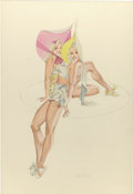 Pin-up and Glamour Art, LEO NOWAK (American 1907 - 2001). Two Blondes, pinupillustration, circa 1940s. Pencil and watercolor on board. 26 x18 ...