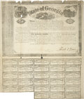 """Autographs:Statesmen, [Confederate States of America] Georgia $500 Bond Signed byGovernor Joseph Brown. One page, 16"""" x 19"""", February 1, 1862, wi..."""