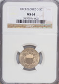 Shield Nickels: , 1873 5C Closed 3 MS64 NGC. PCGS Population (19/12). (#3801)...
