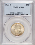 Washington Quarters: , 1932-S 25C MS63 PCGS. PCGS Population (850/1011). NGC Census:(459/553). Mintage: 408,000. Numismedia Wsl. Price for NGC/PC...
