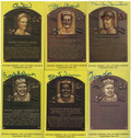 Autographs:Post Cards, Signed Gold Hall of Fame Plaque Postcards Lot of 23....