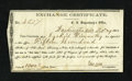Confederate Notes:Group Lots, Washington, AR- $1000 Exchange Certificate 1864.. ...