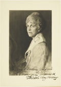 """Autographs:Statesmen, Florence Kling Harding Print Signed as first lady, 9.5"""" x 13.5"""".The photographic print is of a study of Mrs. Harding's ..."""