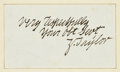 """Autographs:U.S. Presidents, Zachary Taylor Signature, """"Very Respectfully/ Your obt Sevt/ Z.Taylor"""", on lined paper, 3.75"""" x 2"""",..."""