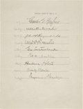 "Autographs:Statesmen, Nine Supreme Court Justices' Signatures on a Single Sheet. Onepage, 8"" x 10.5"", n.d. (ca. 1934), n.p. Signatures under the ..."