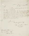 "Autographs:Military Figures, John Rodgers Letter Signed. One paged, 8"" x 10"", April 20, 1835, n.p., with the heading, ""Nav[al] Comm[ission] Off..."
