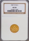 Liberty Quarter Eagles: , 1847-O $2 1/2 AU50 NGC. NGC Census: (40/146). PCGS Population(24/27). Mintage: 124,000. Numismedia Wsl. Price for NGC/PCGS...